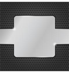 Metal plate on black background vector image
