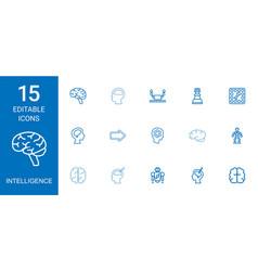 15 intelligence icons vector image