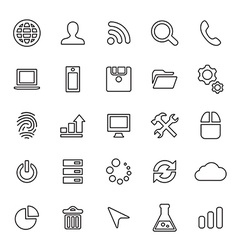 25 outline universal development icons vector