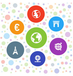 7 europe icons vector image