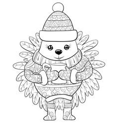 Adult coloring bookpage a cute cartoon hedgehog vector