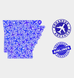 Airlines composition arkansas state map and vector