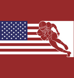 American football running with the ball on flag vector