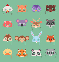 Animals carnival kids mask set festival vector