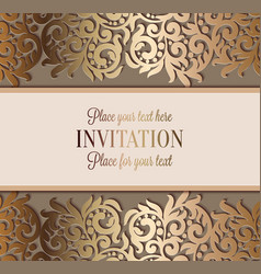 antique luxury wedding invitation gold on beige vector image