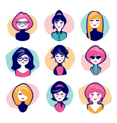avatars young women cartoon retro style vector image