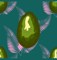 Avocado seamless pattern with pink tropical vector