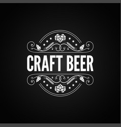 beer vintage label craft beer logo on black vector image vector image