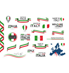 Big set of italian ribbons symbols icons vector