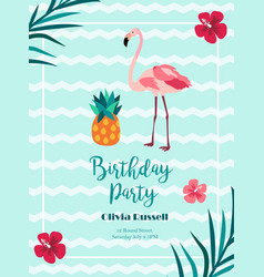 Bright birthday invitation in hawaiian style with vector