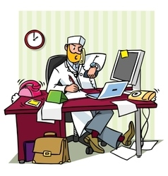 Busy chief doctor in a office vector