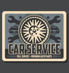 Car service wrenches and tire vector