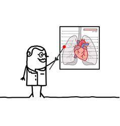 Cartoon doctor explaining cardiac system vector