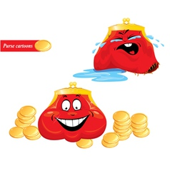 Cartoon emotions set - funny red purses on white vector image