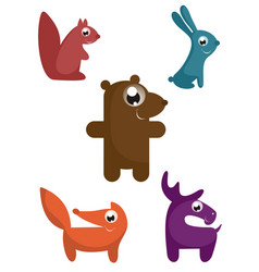 cartoon funny animal silhouettes isolated vector image