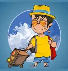 Cartoon happy man with a suitcase vector