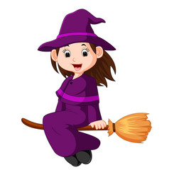 cartoon little witch flying use a broomstick vector image