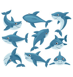 cartoon sharks cute underwater shark animals vector image