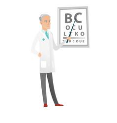 caucasian ophthalmologist holding eyeglasses vector image