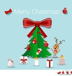 Christmas Greeting Card with Christmas tree and vector image