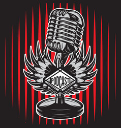 color with microphone wings stage vector image