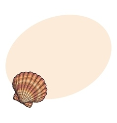 Colorful saltwater scallop sea shell isolated vector
