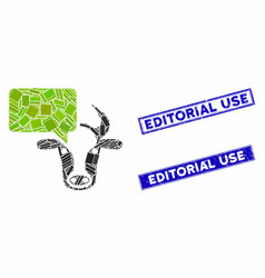 Cow opinion mosaic and grunge rectangle editorial vector