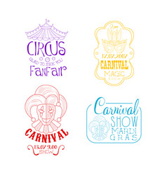 Creative sketch style emblems for circus vector
