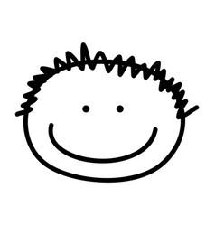 Cute boy head drawing icon vector