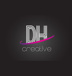 Dh d h letter logo with lines design and purple vector