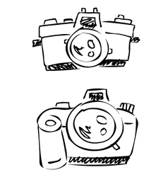 doodle cameras digital analogue vector image