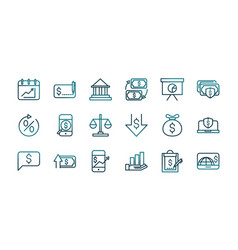 economy business financial trade money icons set vector image