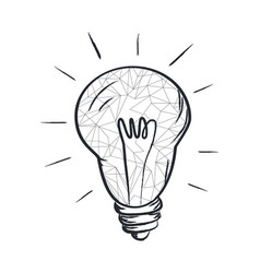 electric bulb sketch with abstract light vector image