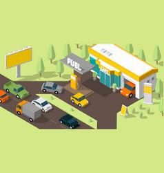 Filling station banner refilling fuel road shop vector