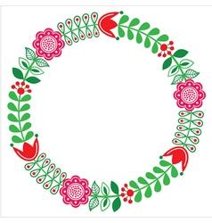 Finnish floral folk art round pattern - Nordic vector
