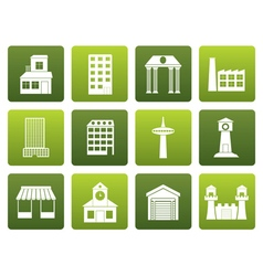Flat different kind of building and City icons vector image