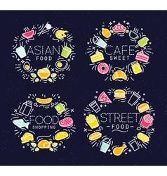 Food flat monograms in vintage vector image