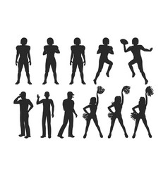 football players coaches cheerleading girls vector image