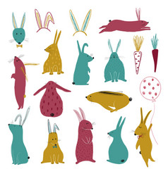 funny collection with colorful rabbits vector image