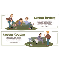 funny people talking mans in park vector image