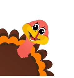Funny turkey Peligrin peeking sideways on vector