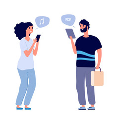 gadgets using people chatting man woman search vector image