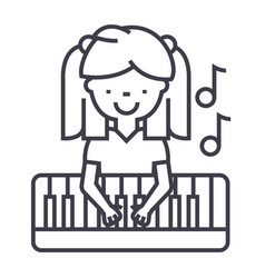 girl playing on piano line icon sign vector image