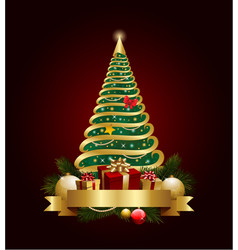 golden decorative christmas tree with banner and vector image