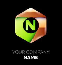 green letter n logo in the golden-green hexagonal vector image