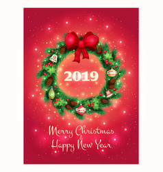 greeting card with a beautiful christmas wreath vector image