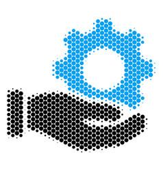 halftone dot mechanic gear service hand icon vector image