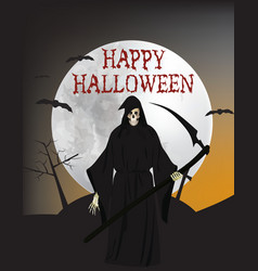 halloween card with grim reaper vector image