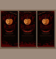 happy halloween black and red banner set vector image