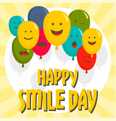 Happy smile day concept background flat style vector